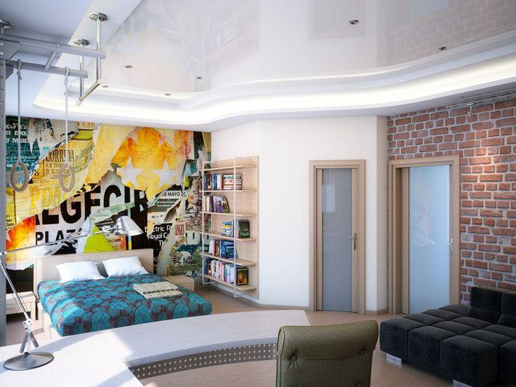 Комната для мальчика подростка с кирпичной стеной