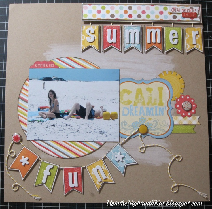 Summer fun #papercraft #scrapbook #layout Up in the Night with Kat