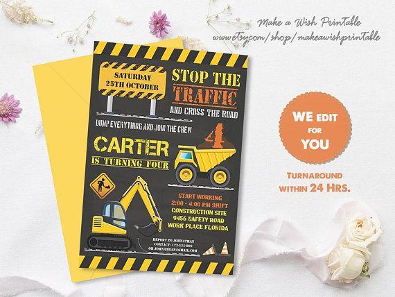 boy birthday invitations dump truck invitation construction