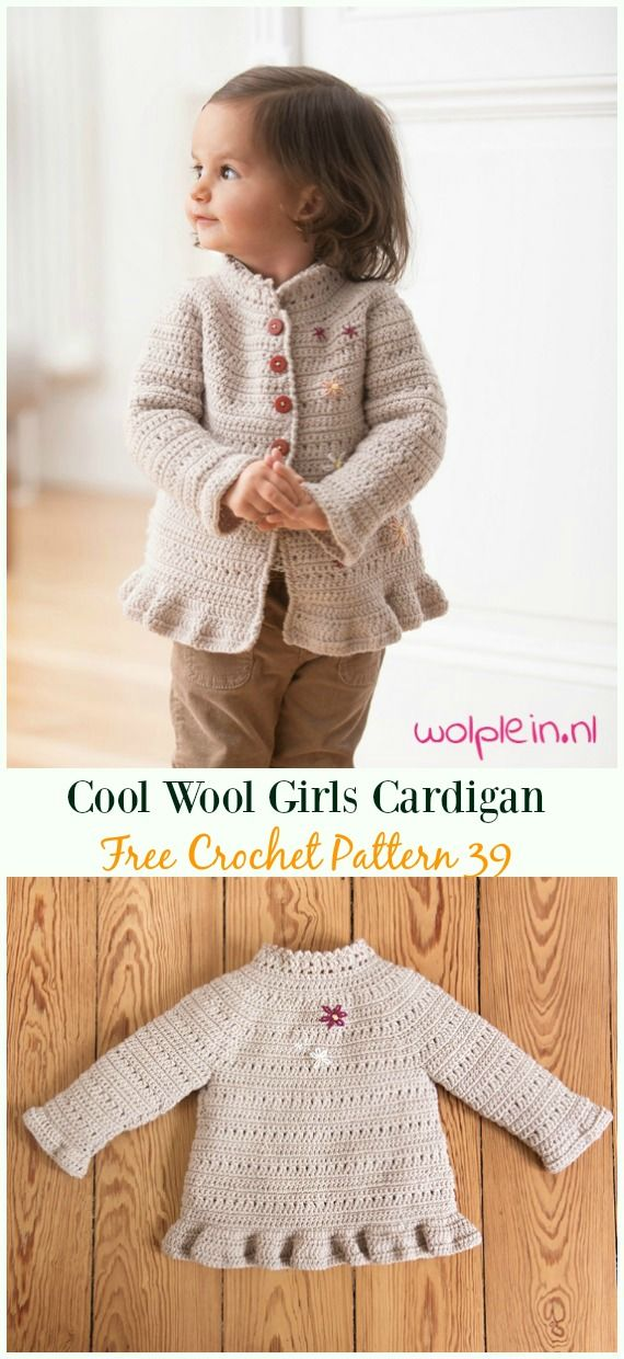 Cool Wool Girls Cardigan Free Crochet Pattern - #Crochet Kid\'s ...