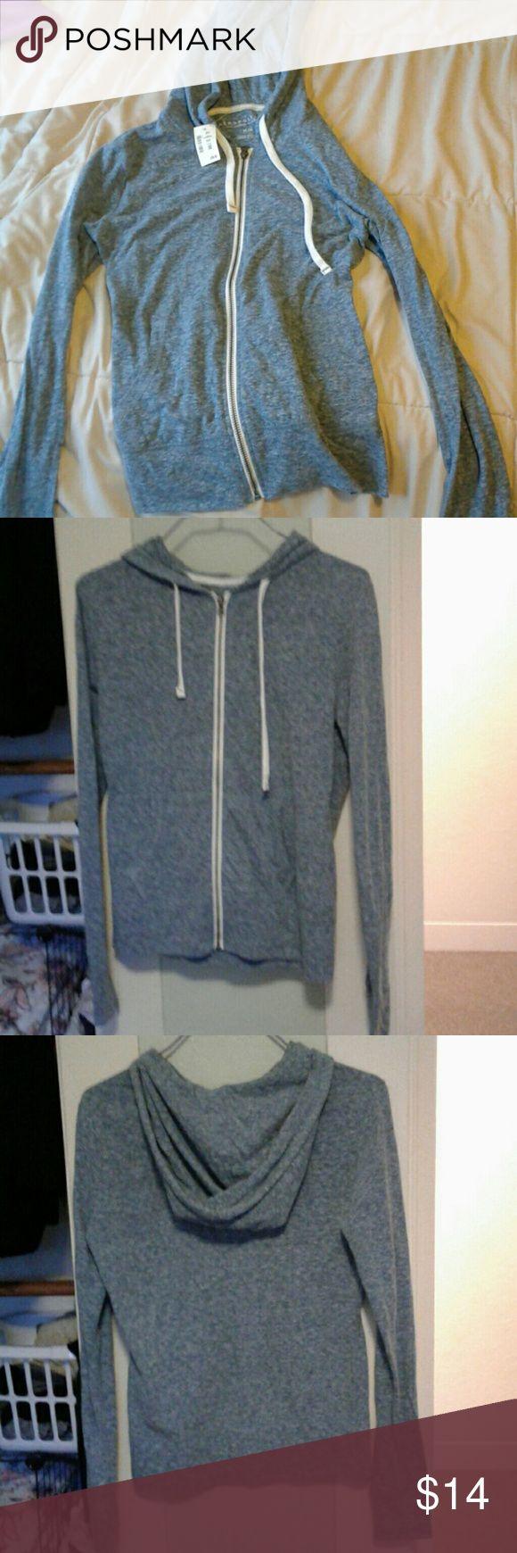Super cute Aeropostale hoodie! Bluish grey, lightweight, thin hoodie. Great condition, still has tags. Medium, zip up with white drawstrings. Aeropostale Tops Sweatshirts & Hoodies
