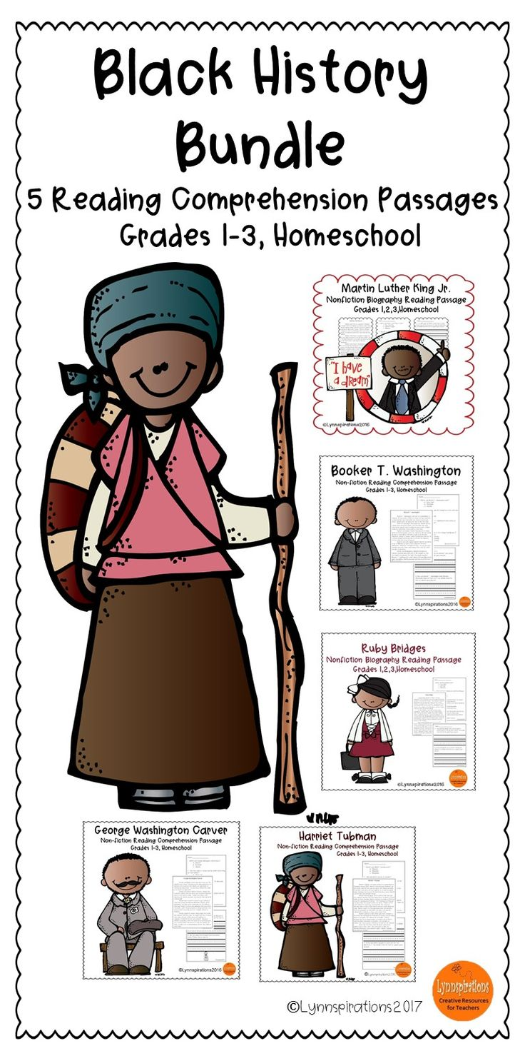 This Black History Bundle of 5 reading comprehension passages for grades 1-3 can be used in your class to help your students with reading comprehension skills as well as with test taking skills.  Please take a preview peek!   Included: Five engaging passages with 4 multiple choice questions and 2 written responses each.