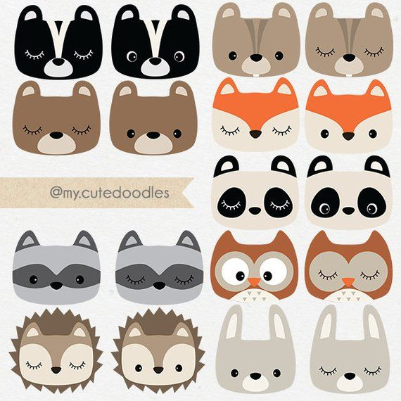 Woodland Clipart, Cute Forest Animals, Woodland Nursery Baby Shower Accessory, Woodland Party Deco, Fox Clipart, Panda – C007