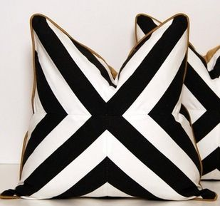 Black white gold graphic pillows
