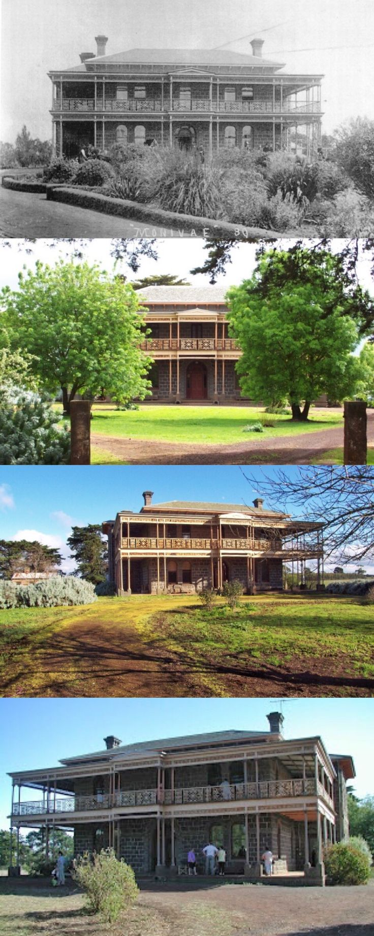 Monivae Homestead, Hamilton Sth (310 km SW of Melbourne). The land was taken up by Acheson ffrench in c1839. He built a large homestead, but following his death in 1870 it was bought by James Thomson, a Scot, who built (on a different site) the present bluestone Italianate mansion, designed by English-born William Smith. Thomson lived there with his family of 11 children until his death in 1946, after which it was briefly a boarding school. There are plans to restore it as a tourist…