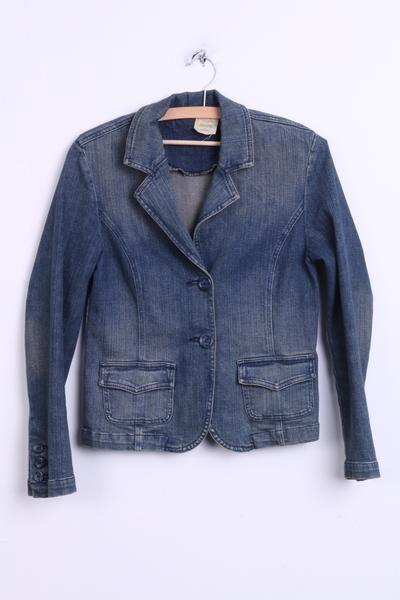 Lee Womens M Jacket Blazer Denim Jeans Blue Cotton Washed Look - RetrospectClothes