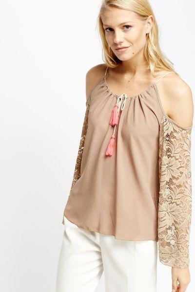 Floral Flare Lace Cold Shoulder Top