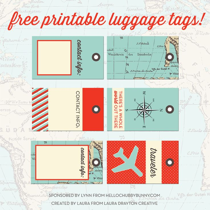 FREE printable designer luggage tags, and your chance to WIN one out of 10 stylish printable travel kits – courtesy of Laura Drayton Creativ...