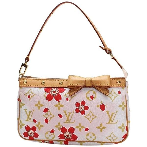 Louis Vuitton Limited Edition Cherry Blossom Murakami Shoulder Bag ($58) ❤ liked on Polyvore featuring bags, handbags, shoulder bags, louis vuitton wristlet, crossbody wristlet, shoulder strap purses, over the shoulder bags and long strap purse
