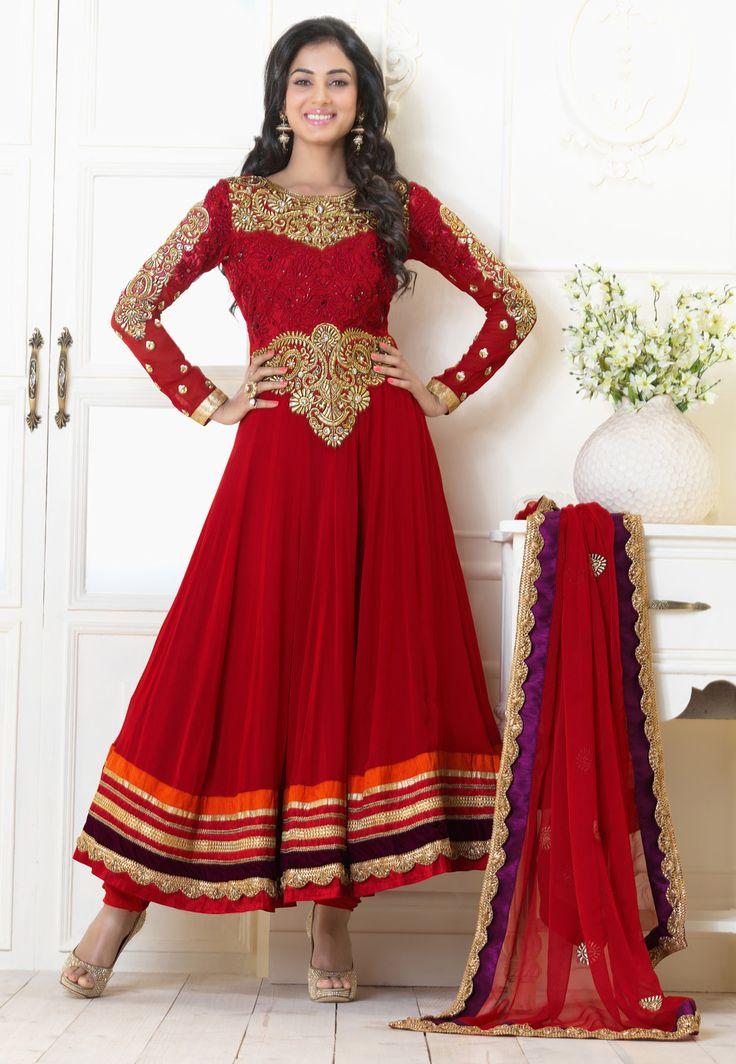 #Red Faux Georgette #Churidar Kameez @ $166.67