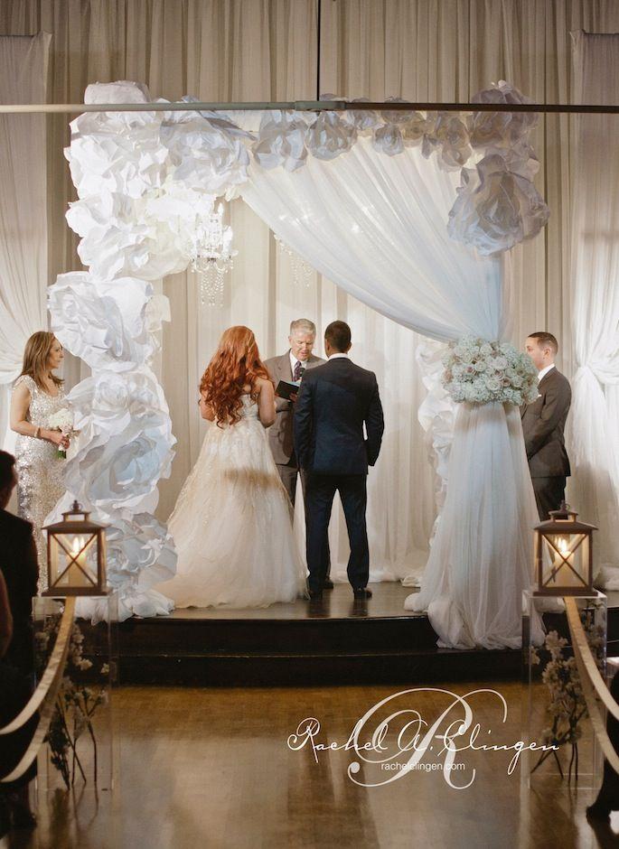 amazing paper chuppah flowers by Rachel A. Clingen, #chuppah #jewishwedding #jewishceremony #weddingcanopy