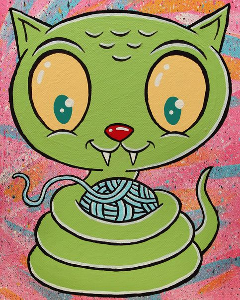 """Kittyconda"" limited edition canvas print · jellykoe: art and toys · Online Store Powered by Storenvy"