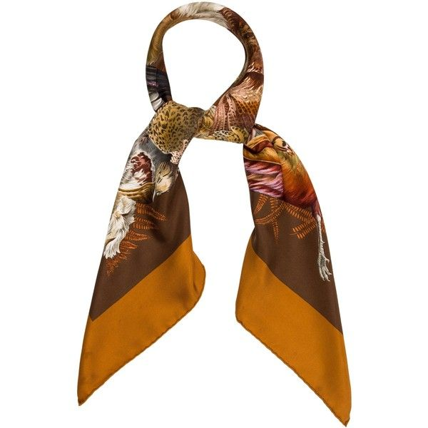 Pre-owned Herm?s Gibiers Square Scarf ($275) ❤ liked on Polyvore featuring accessories, scarves, brown, hermès, brown shawl, brown scarves, multi colored scarves and square scarves