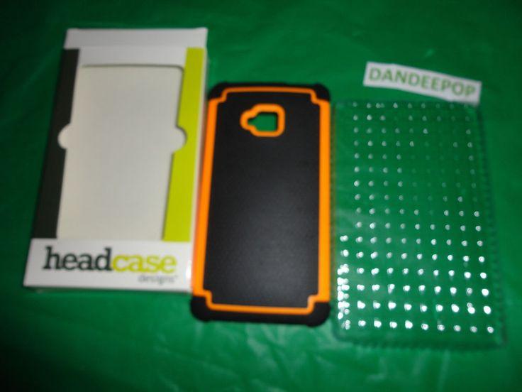 New Black & Orange HTC Hybrid Hard Rugged Cell Phone Case HTC One M7 Head Case find me at www.dandeepop.com