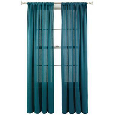 Blue Velvet Grommet Top Window Curtain Panel