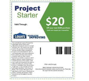 Printable home improvement Lowes $20 off $100 coupons