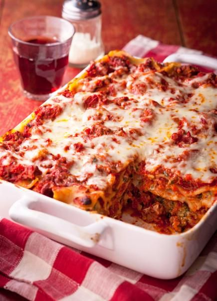 Classic Lasagna: Rich meaty sauce and creamy cheese layers. Always a favorite!