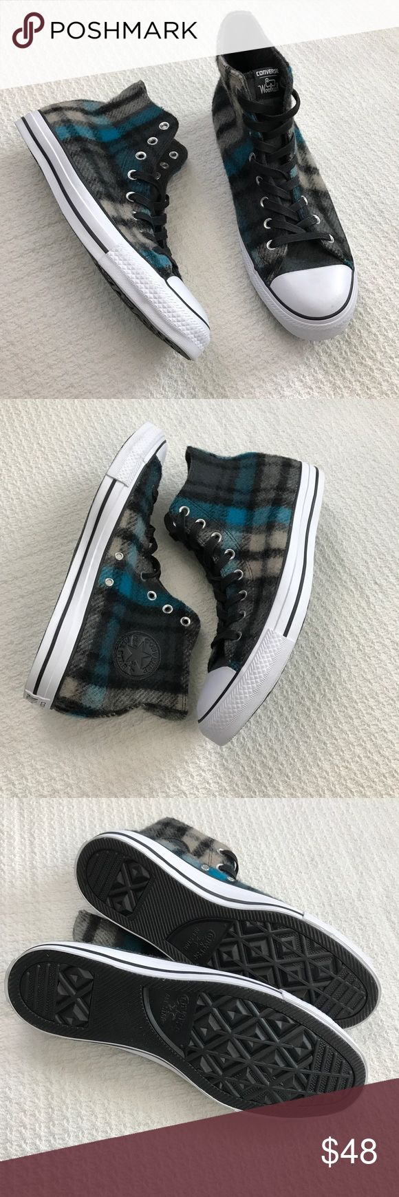 * Converse * Plaid Woolrich High Top Chucks Converse and Woolrich collaborate to make these Wool Plaid High top Chuck Taylors. Adorable blue/black/gray color scheme. These have never been worn! Missing the original tags but brand new. Men's 10 / Women's 12. Converse Shoes Sneakers