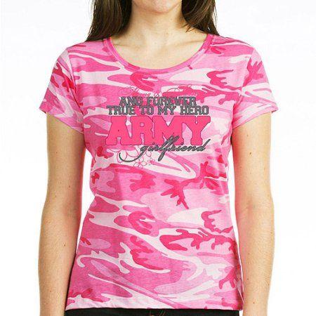 CafePress Strong & Sweet Army Girlfriend Women's Dark T-Shirt, Pink