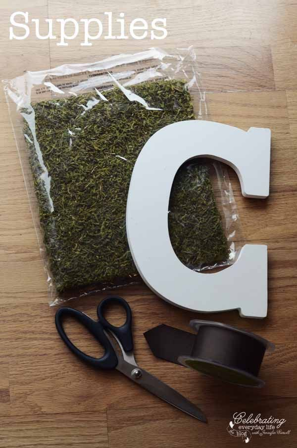 Supplies for DIY Moss Covered Letter, Celebrating Everyday Life blog