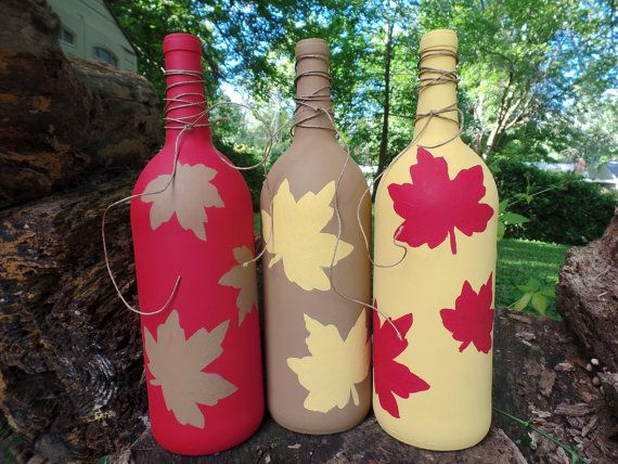 SET OF 3 Fall Wine Bottles Fall Wine Decor by RusticLeavesCrafts
