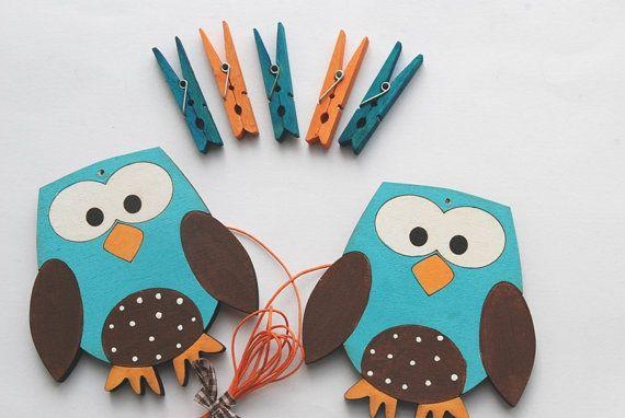 Children's  Artwork display hanger Owls Blue orange by Shellyka, $18.00