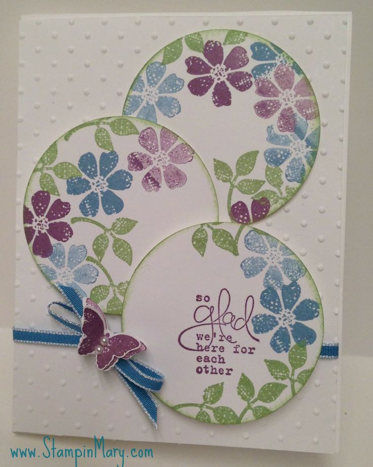 I love the color combo, the circles, and the fresh flowers stamped on the borders of the circles. How cute!