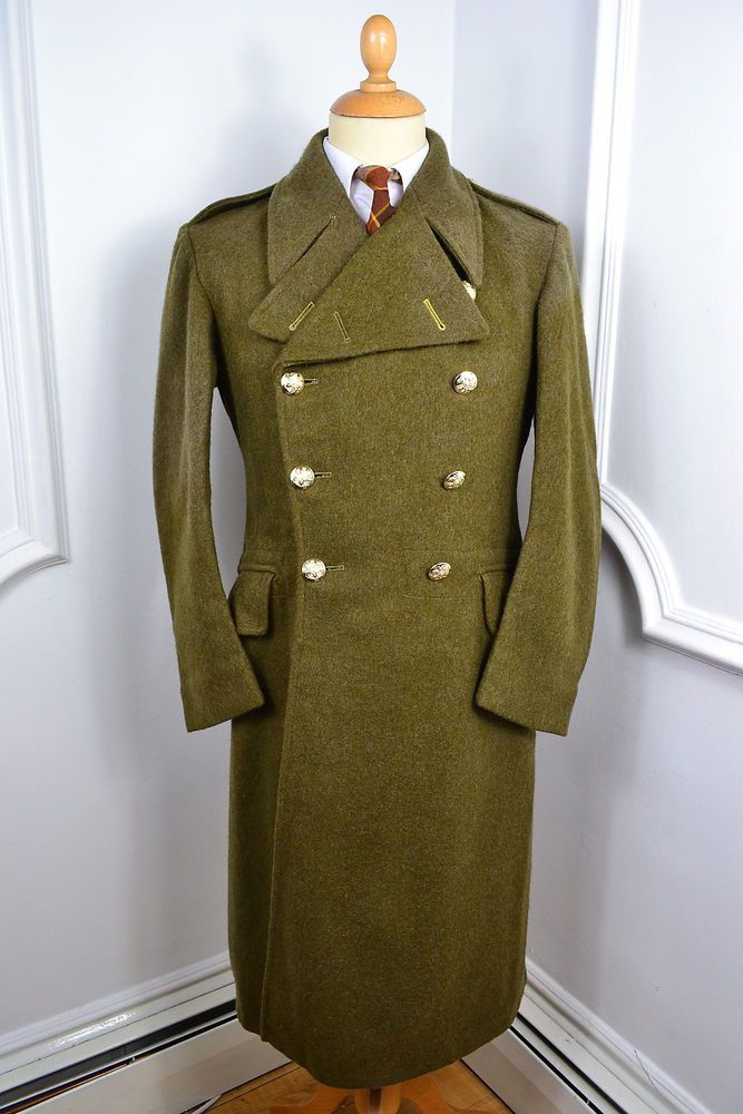 Vintage 1950 Green British Army Ww2 Officers Overcoat Pea