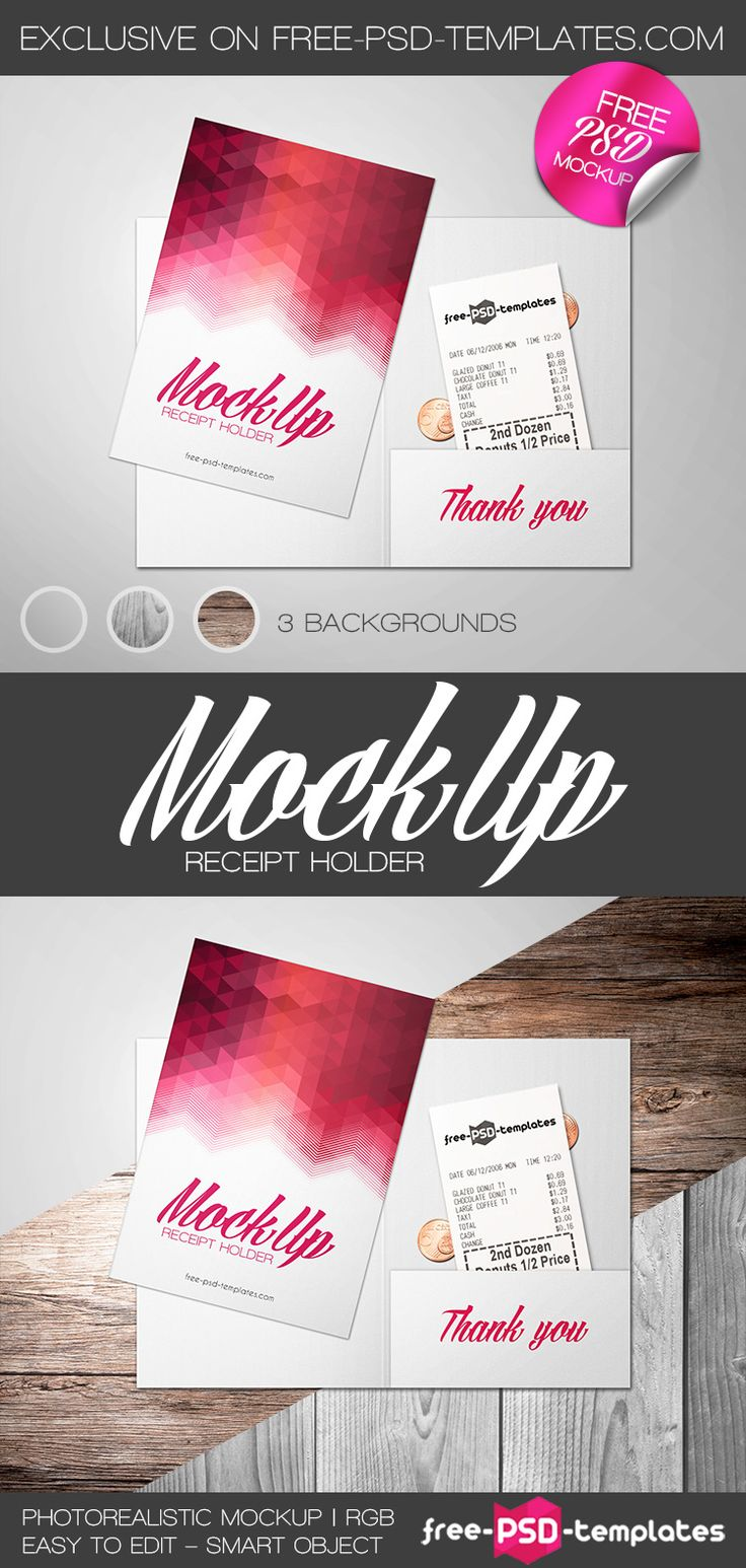 Free Receipt Holder Mock Up In Psd Psd Template Free Mockup Free Psd Mockup