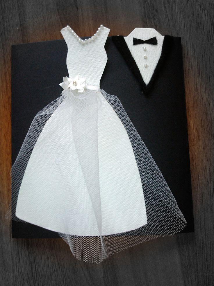 como hacer invitación de boda con forma de vestido y traje