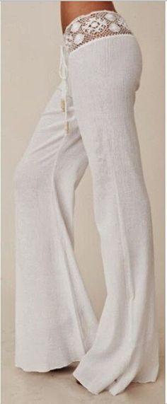 White Plain Lace Belt Mid-rise Horn Shape Long Pants - Pants - Bottoms