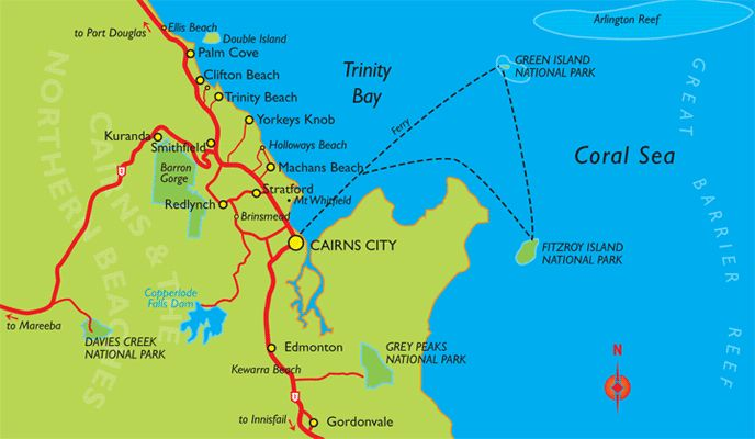 Cairns Ferries and Beaches Map