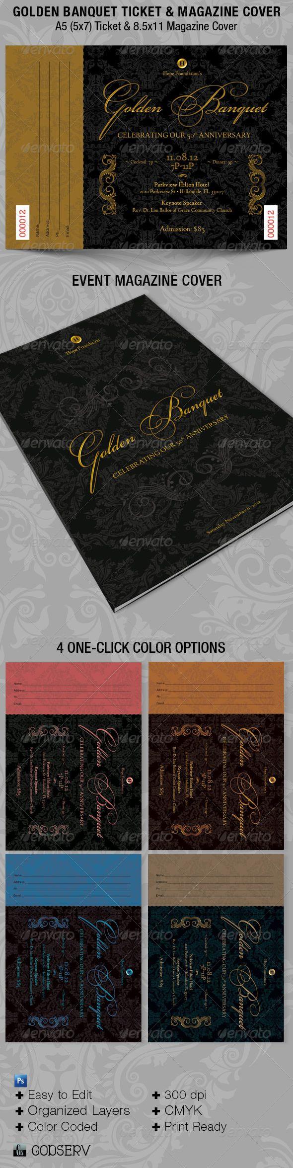 Golden Banquet Ticket Plus Magazine Cover Template - Miscellaneous Print Templates