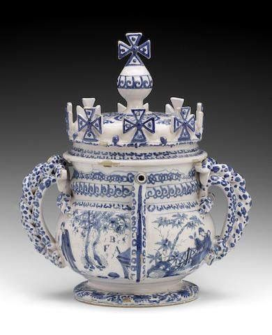 Exceptional English delft posset pot circa 1697 Posset was made by adding wine or ale & spices to milk which made it curdle. Extremely popular from medieval times up to 18 th century. Similar to yoghurt or syllabub