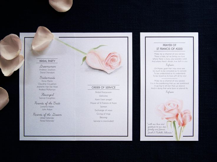 Rose wedding program inside by Willie wagtail design
