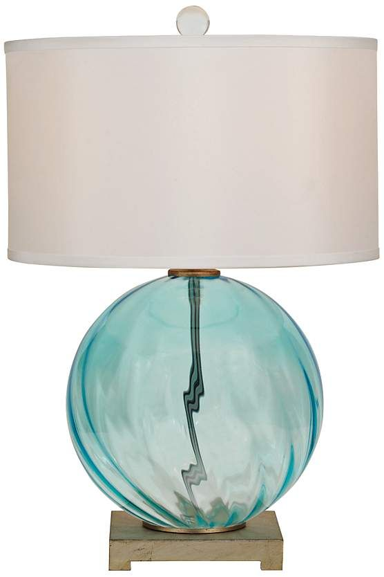 Stunning Round Glass Table Lamp In Turquoise Blue On An