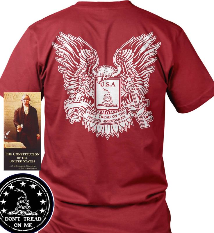"""Bundle of 3 items. Don't Tread on the Second Amendment. Red 3XL T-Shirt. Mad. Bundle of 3 items: T-shirt, Pocket Constitution & 4.5"""" decal. Official Sons of Liberty Tees® Gear. Made in the USA. Don't Tread on Me Apparel. Screen Printed on a Bayside Brand™ MADE IN AMERICA T-Shirt. 6.1 oz. 100% Pre-Shrunk American Made Cotton Tee. Premium Cotton Tee. Liberty, Second Amendment, and Patriot Apparel/T-Shirts - made by a small American owned business, by a couple of die hard patriots. Tee Shirt…"""