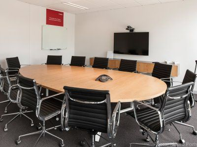 Oval table conference room.