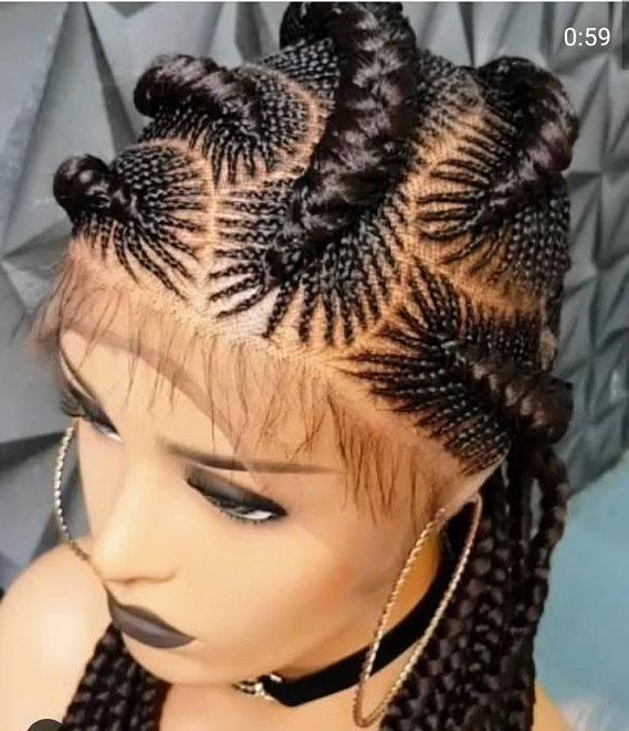 Ghana Line Cornrow Wig, Human Hair Full Lace Frontal