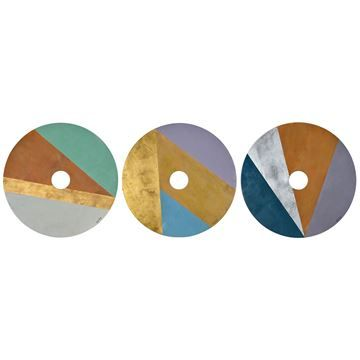 $149, Loguns Wall Art W6313,62.8'' x 38.8'' x 3.4'', a must have for modern walls, this set of three painted wood wall decorations is rich in Danish Modern influences. Softly colored circles of purple, blue and green are sliced with metallic slivers of gold, silver and copper leaf, creating focal points that pop.