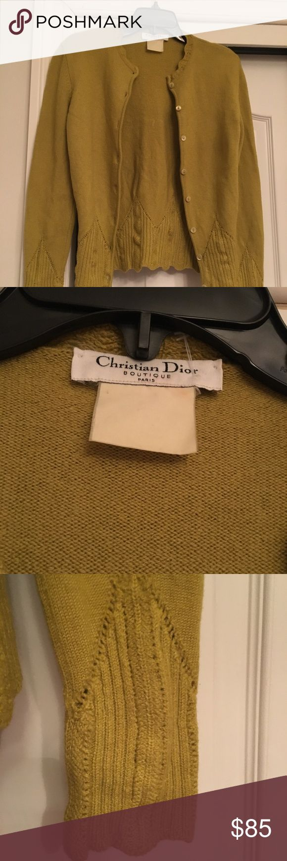 Vintage Christian Dior In great condition old tag so it's faded its most likely a small in a mustard color beautiful detail. ❤️❤️❤️ Christian Dior Sweaters Cardigans