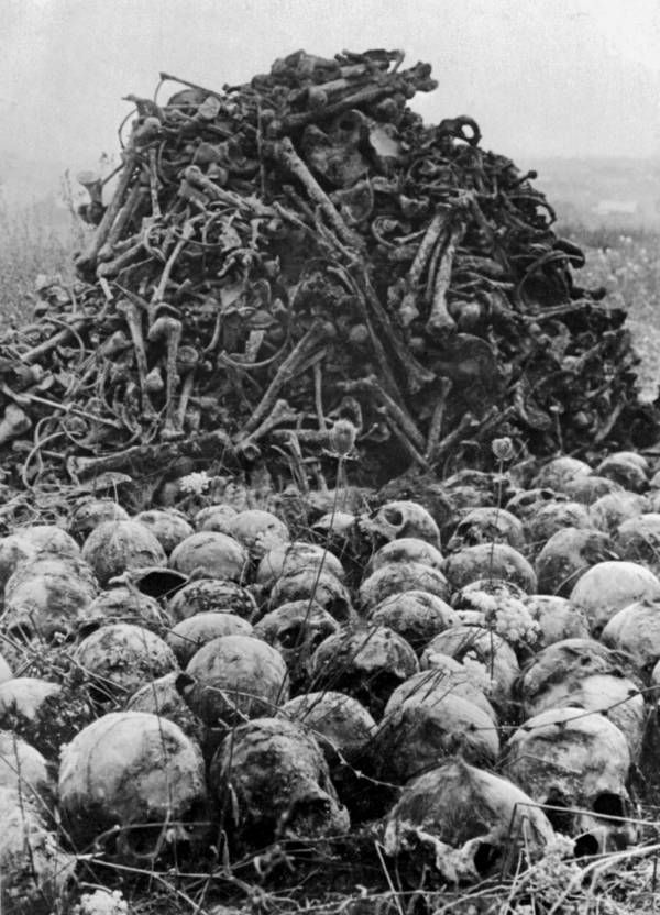 A pile of human bones and skulls lies on the grounds of the Majdanek concentration camp soon after its liberation by Russian troops in 1944.