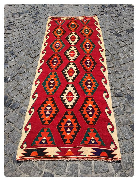 Beautiful vintage Turkish kilim rug is around 70 years old and in very good condition.  Flat weave base and embroidered traditional geometric patterns.  This kilim was hand-woven in the east part region of , Turkey. Care:Dry cleaning only  Usually we are shipping with FEDEX and UPS, We will send your İtem İn 1-3 business days and you will get your order 5-8 business days with Tracking number.  Before ship the kilim; we flatten borders, stretch /ironing, rework, border correction and re ...