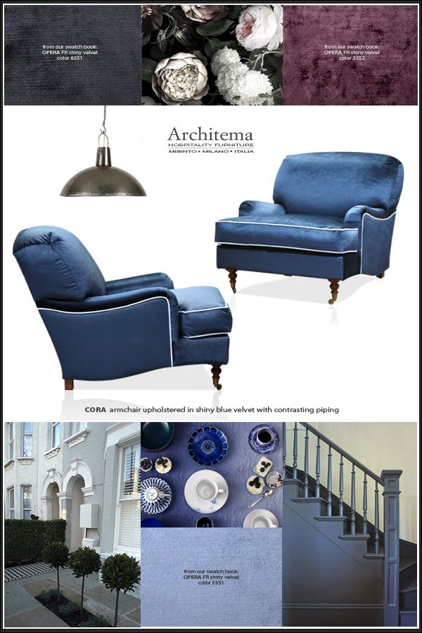 ARCHITEMA HOSPITALITY FURNITURE - our CORA armchair and a selection of colors from our swatch book