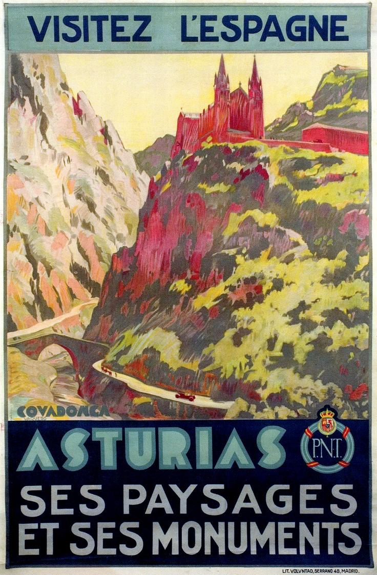 """Cartel turístico """"Visite España. Covadonga. Asturias. Sus paisajes y sus monumentos"""". Obra de Vaquero Palacios. Año 1929."""