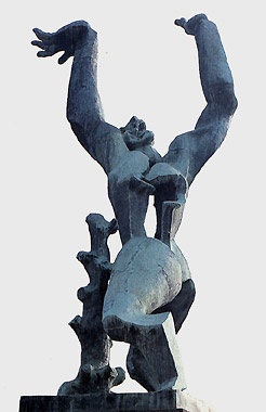 Ossip Zadkine - De verwoeste stad : On the 14th of May in 1940 Rotterdam was bombarded, which practically destroyed the entire city center. The missing heart of the city inspired the artist Ossip Zadkine to make his famous statue 'De Verwoeste Stad' (ENG: The Destroyed City). A male figure has a hole in his chest, (his missing heart) and both arms are stretching skywards.