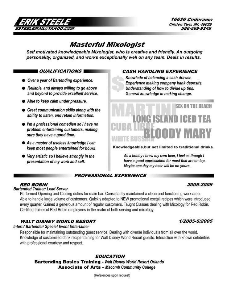 resume for bartenders