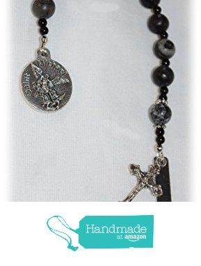US Marine Corps Personalized St. Michael Chaplet/Pocket Rosary - Shades of Black Glass Beads - One Decade Rosary - Catholic / Religious Gift from AnalynsTreasure