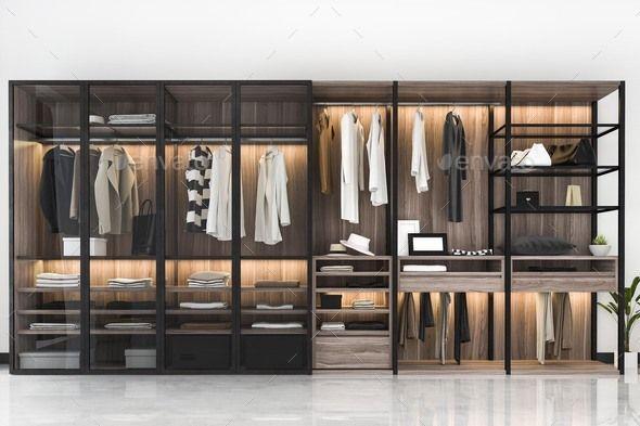 3d Rendering Minimal Scandinavian Walk In Closet With Wood Wardrobe In 2020 Wood Wardrobe Wardrobe Door Designs Walk In Closet Design