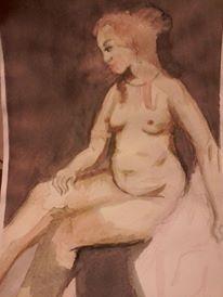 desnudos en acuarela, copia cuadro rembrandt